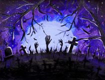 Halloween art, dark graves and bats in blue Forest painting, illustration. Halloween background. Royalty Free Stock Photography