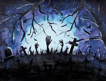 Halloween art, dark graves and bats in blue Forest painting, illustration. Halloween background. Stock Photography