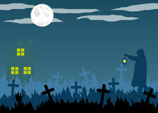 Halloween Cemetery and Graveyard Keeper Silhouette with Lantern Royalty Free Stock Photos