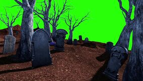 Halloween Cemetery Living Trees Tombstone Green Screen 3D Rendering Animation