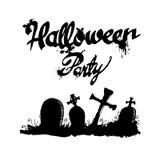 Halloween cemetery moonlight landscape illustration night vec Royalty Free Stock Photo
