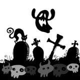 Halloween cemetery moonlight landscape. illustration  night vec Royalty Free Stock Photos