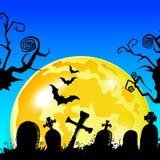 Halloween cemetery moonlight landscape. illustration night, vec Stock Photography