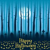 Halloween cemetery in moonlight Stock Images