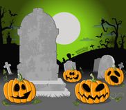 Halloween cemetery with pumpkins Royalty Free Stock Images