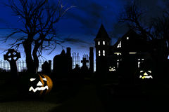 Halloween Cemetery Scary Scene 3D render Royalty Free Stock Images