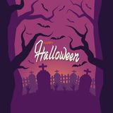 Halloween. Cemetery, zombie hands stick out of the ground. Fence, grave. Sunset, terrible trees. royalty free illustration