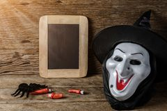 Halloween Chalk board and Witch hat, Witch mask Royalty Free Stock Images