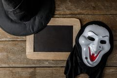 Halloween Chalk board and Witch hat, Witch mask Royalty Free Stock Photos