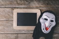 Halloween Chalk board and Witch mask Stock Photography