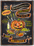 Halloween chalkboard menu. Stock Photos