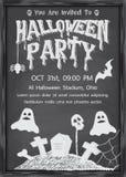 Halloween chalkboard style in black wood border Stock Photos