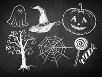 Halloween chalked collection Stock Photo
