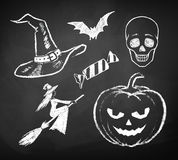 Halloween chalked collection Royalty Free Stock Photo