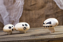 Halloween champignons with ghost face Stock Image