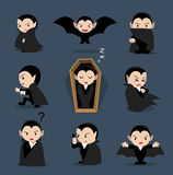 Halloween Character Big Head Poses Dracula vector illustration