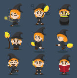 Halloween Character Big Head Poses Little Witch stock illustration