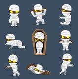 Halloween Character Big Head Poses Mummy vector illustration