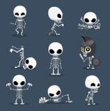 Halloween Character Big Head Poses Skeleton royalty free illustration