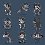 Halloween Character Big Head Poses Werewolf. Cartoon Character EPS10 File Format Stock Image