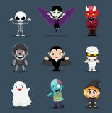 Halloween Character Big Head Set Cartoon Vector Illustration Stock Image