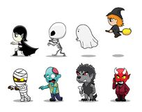 Halloween Character Big Head Side Set Cartoon Vector Illustration Royalty Free Stock Image