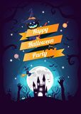 Halloween character and element design badge on full moon Background, Trick or Treat Concept, vector illustration. Eps10 Royalty Free Stock Photo