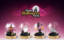 Halloween character element design in glass dome and Halloween lettering, Trick or Treat Concept, vector illustration Royalty Free Stock Photos