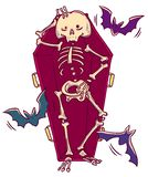 Halloween character. Funny smiling skeleton in coffin in cartoon style. royalty free illustration