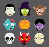 Halloween Character Heads Cartoon royalty free illustration
