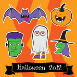 Halloween Character Pack. A set of fully customizabile Halloween illustrations.Containing sticker like bat, Frankenstein, witch, trick-or-treater, pumpkin and a Stock Illustration