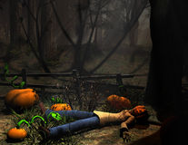 Halloween character pumpkin lying down Royalty Free Stock Photography