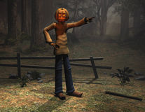 Halloween character pumpkin man pointing Stock Photo