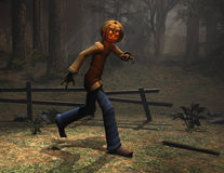 Halloween character pumpkin man running Royalty Free Stock Photo