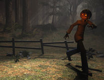 Halloween character pumpkin man running Royalty Free Stock Image