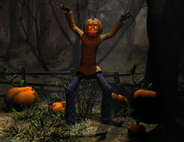 Halloween character pumpkin man scary royalty free illustration