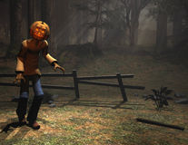 Halloween character pumpkin man sneaking Royalty Free Stock Photo