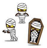 Halloween Character Set Cute Mummy Cartoon Vector Illustration Stroke Royalty Free Stock Photo
