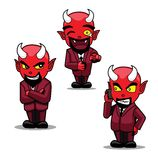 Halloween Character Set Cute Suit Devil Cartoon Vector Illustration Stroke Stock Image