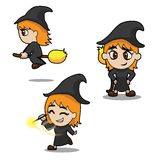 Halloween Character Set Cute Witch Cartoon Vector Illustration Stroke Royalty Free Stock Photo