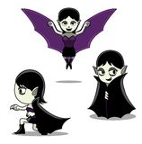 Halloween Character Set Vampire Girl Cartoon Vector Illustration Stroke Royalty Free Stock Photos