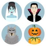 Halloween character set. Vampire, werewolf, dead bride, Jack-o-Lantern Stock Photos