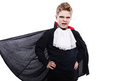 Halloween character: vampire, dracula. Studio portrait isolated over white background Royalty Free Stock Photos