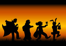 Halloween characters. Silhouettes of characters of a halloween on a black-fiery background Royalty Free Stock Photography