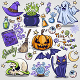 Halloween characters and attributes doodle set. Stock Photography