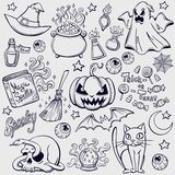 Halloween characters and attributes doodle set Stock Photos