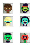 Halloween characters buttons Stock Images