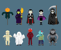 Halloween Characters Cartoon Vector Illustration Stock Photography