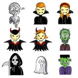 Halloween Characters. A collection of different kinds of Halloween characters. It contains hi-res JPG, PDF and Illustrator 9 files Stock Photos