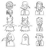 Halloween Characters. A collection of different kinds of halloween characters. It contains hi-res JPG, PDF and Illustrator 9 files Royalty Free Stock Photo